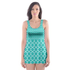 Turquoise Quatrefoil Pattern Skater Dress Swimsuit