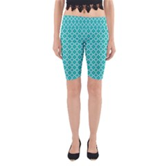 Turquoise quatrefoil pattern Yoga Cropped Leggings