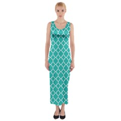 Turquoise Quatrefoil Pattern Fitted Maxi Dress