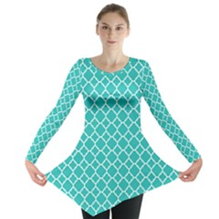 Turquoise quatrefoil pattern Long Sleeve Tunic