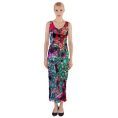 Bubble Chaos Fitted Maxi Dress