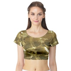 Gold Bar Golden Chic Festive Sparkling Gold  Short Sleeve Crop Top (Tight Fit)