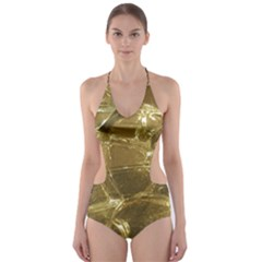 Gold Bar Golden Chic Festive Sparkling Gold  Cut Out One Piece Swimsuit
