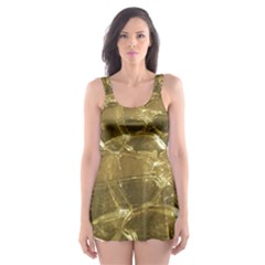 Gold Bar Golden Chic Festive Sparkling Gold  Skater Dress Swimsuit