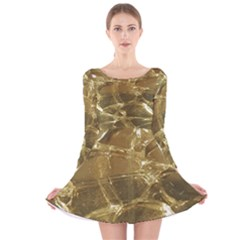 Gold Bar Golden Chic Festive Sparkling Gold  Long Sleeve Velvet Skater Dress