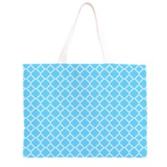 Bright Blue Quatrefoil Pattern Zipper Large Tote Bag