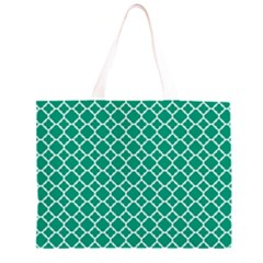 Emerald Green Quatrefoil Pattern Zipper Large Tote Bag