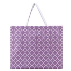 Lilac Purple Quatrefoil Pattern Zipper Large Tote Bag