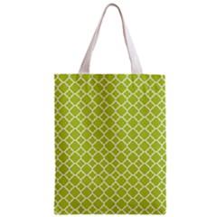 Spring Green Quatrefoil Pattern Zipper Classic Tote Bag