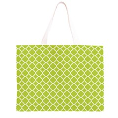 Spring Green Quatrefoil Pattern Zipper Large Tote Bag
