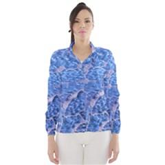 Festive Chic Light Blue Glitter Shiny Glamour Sparkles Wind Breaker (Women)