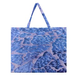 Festive Chic Light Blue Glitter Shiny Glamour Sparkles Zipper Large Tote Bag