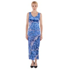 Festive Chic Light Blue Glitter Shiny Glamour Sparkles Fitted Maxi Dress