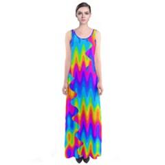 Amazing Acid Rainbow Sleeveless Maxi Dress