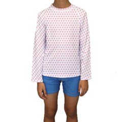 Soft Pink Small Hearts Pattern Kid s Long Sleeve Swimwear