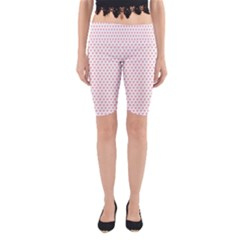 Soft Pink Small Hearts Pattern Yoga Cropped Leggings