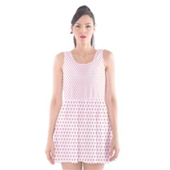 Soft Pink Small Hearts Pattern Scoop Neck Skater Dress