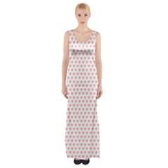Soft Pink Small Hearts Pattern Maxi Thigh Split Dress