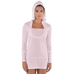 Soft Pink Small Hearts Pattern Women s Long Sleeve Hooded T-shirt