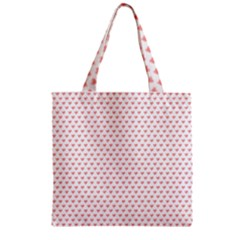 Soft Pink Small Hearts Pattern Zipper Grocery Tote Bag