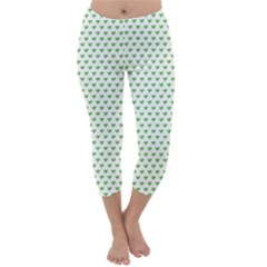 Spring Green Small Hearts Pattern Capri Winter Leggings