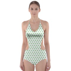 Spring Green Small Hearts Pattern Cut-Out One Piece Swimsuit