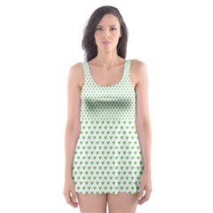 Spring Green Small Hearts Pattern Skater Dress Swimsuit