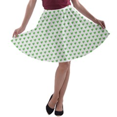 Spring Green Small Hearts Pattern A Line Skater Skirt