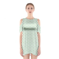 Spring Green Small Hearts Pattern Cutout Shoulder Dress