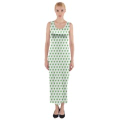 Spring Green Small Hearts Pattern Fitted Maxi Dress