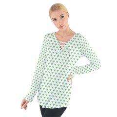 Spring Green Small Hearts Pattern Women s Tie Up Tee