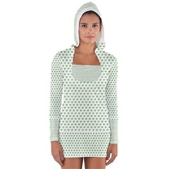 Spring Green Small Hearts Pattern Women s Long Sleeve Hooded T-shirt