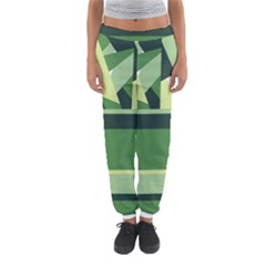 Abstract Jungle Green Brown Geometric Art Women s Jogger Sweatpants