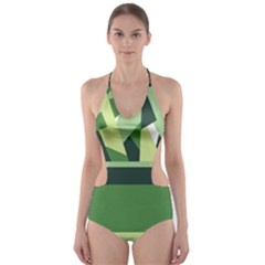 Abstract Jungle Green Brown Geometric Art Cut-Out One Piece Swimsuit