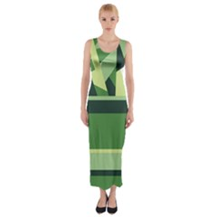 Abstract Jungle Green Brown Geometric Art Fitted Maxi Dress