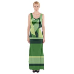 Abstract Jungle Green Brown Geometric Art Maxi Thigh Split Dress