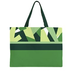Abstract Jungle Green Brown Geometric Art Large Tote Bag