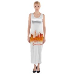 Barcelona City Art Fitted Maxi Dress