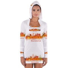 Barcelona City Art Women s Long Sleeve Hooded T-shirt