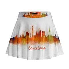 Barcelona City Art Mini Flare Skirt