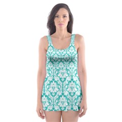 Turquoise Damask Pattern Skater Dress Swimsuit