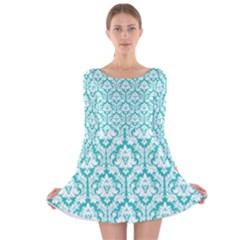 Turquoise Damask Pattern Long Sleeve Velvet Skater Dress