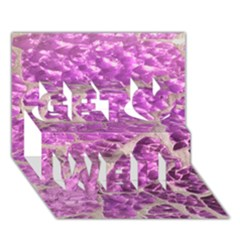 Festive Chic Pink Glitter Stone Get Well 3D Greeting Card (7x5)