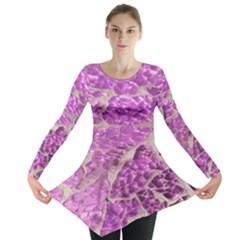 Festive Chic Pink Glitter Stone Long Sleeve Tunic