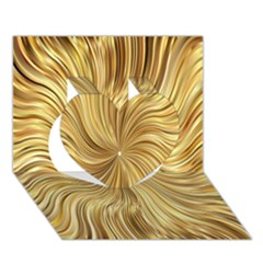 Chic Festive Elegant Gold Stripes Heart 3D Greeting Card (7x5)