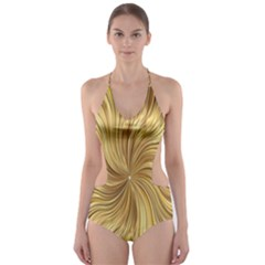 Chic Festive Elegant Gold Stripes Cut-Out One Piece Swimsuit