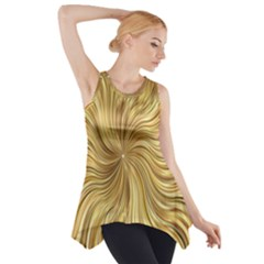 Chic Festive Elegant Gold Stripes Side Drop Tank Tunic