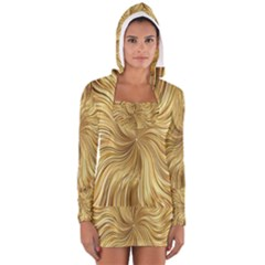 Chic Festive Elegant Gold Stripes Women s Long Sleeve Hooded T-shirt