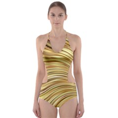 Chic Festive Gold Brown Glitter Stripes Cut Out One Piece Swimsuit