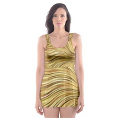 Chic Festive Gold Brown Glitter Stripes Skater Dress Swimsuit